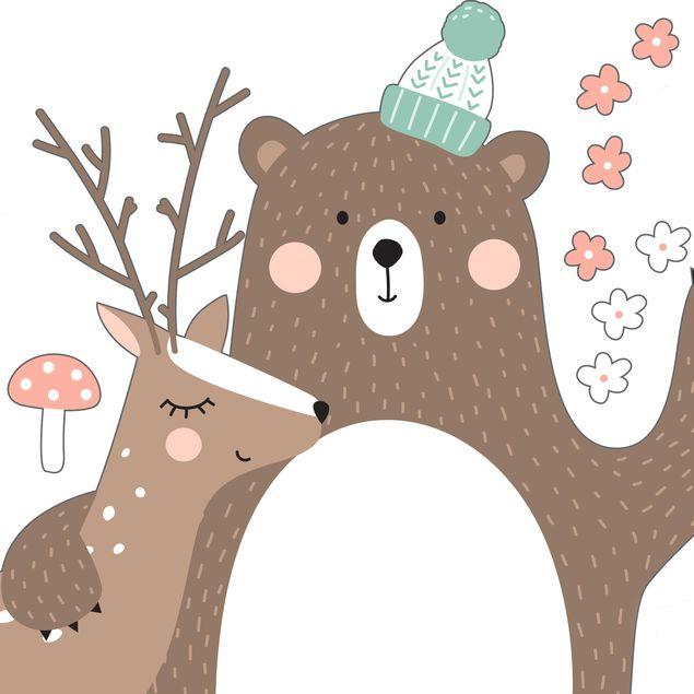 Produktfoto Wandtattoo Kindermuster Forest Friends mit Bär und Reh