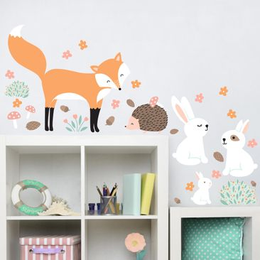 Immagine del prodotto Adesivo murale Children's pattern Forest friends with rabbit hedgehog and fox