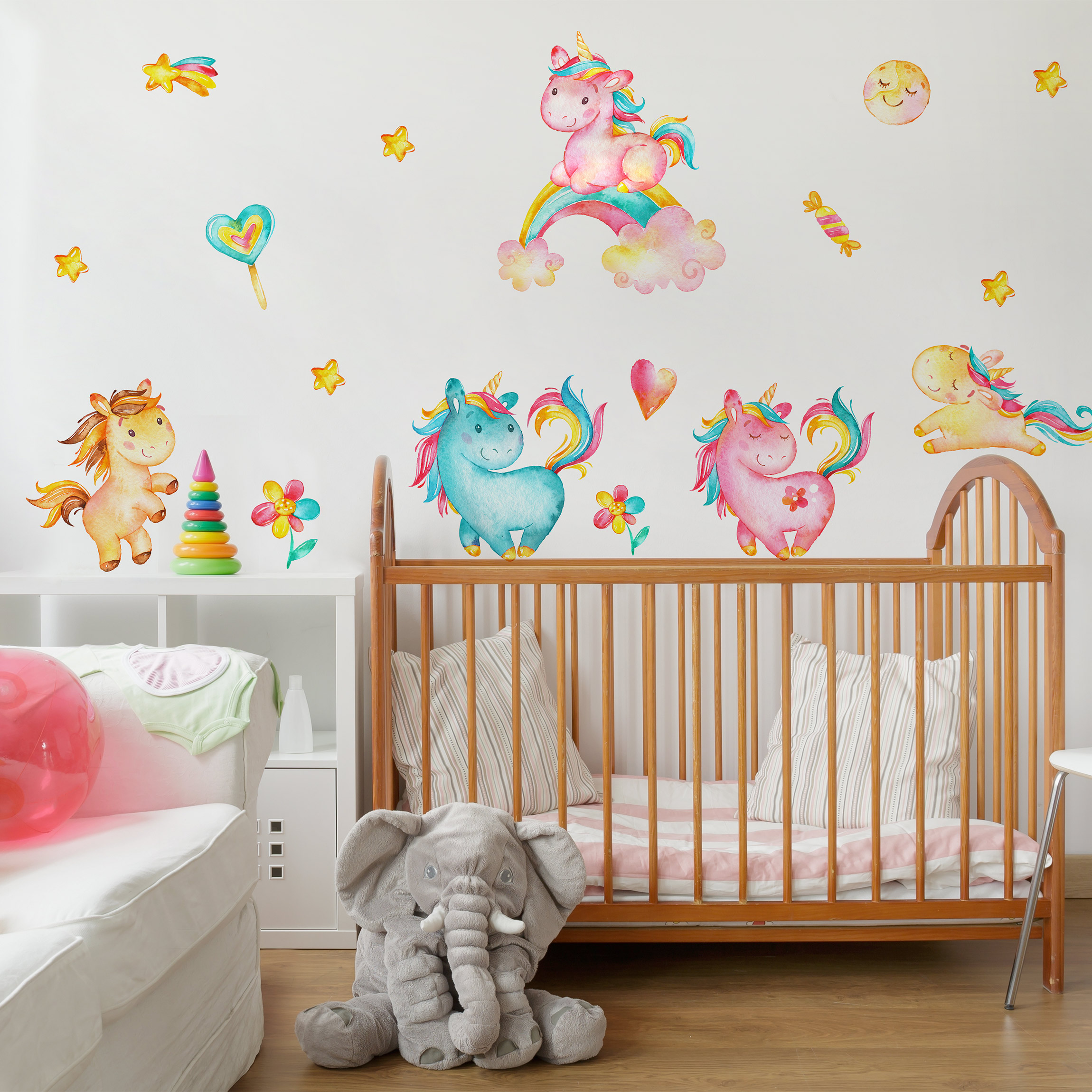 Wandtattoo einhorn aquarell kinderzimmer set for Kinderzimmer set
