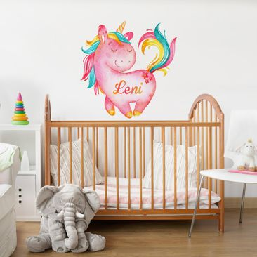 Product picture Wall Decal Unicorn with own words pink