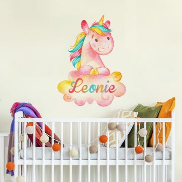 Product picture Wall Decal Unicorn with own words on the...