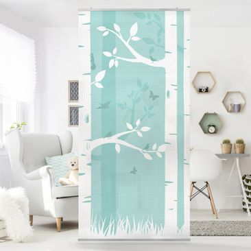 Immagine del prodotto Tenda a pannello green birches with butterflies and birds 250x120cm