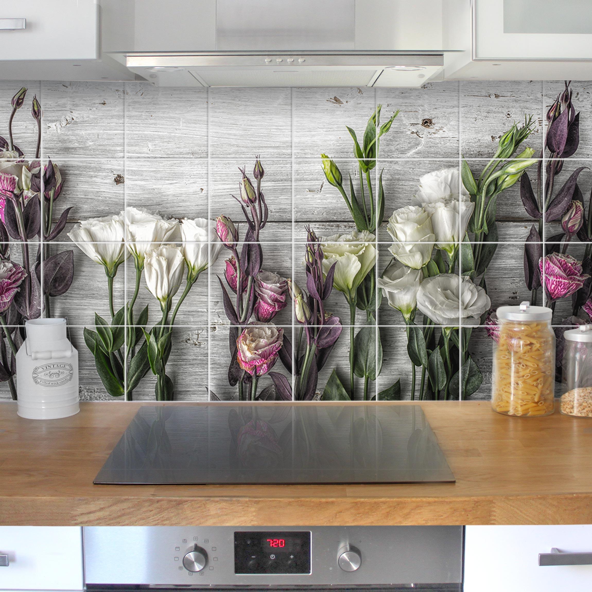 fliesenbild tulpen rose shabby holzoptik On fliesenbilder kuche