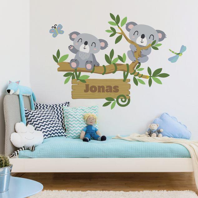 Wandtattoo namen kinderzimmer koala baum wunschtext - Wandtattoo kinderzimmer baum ...