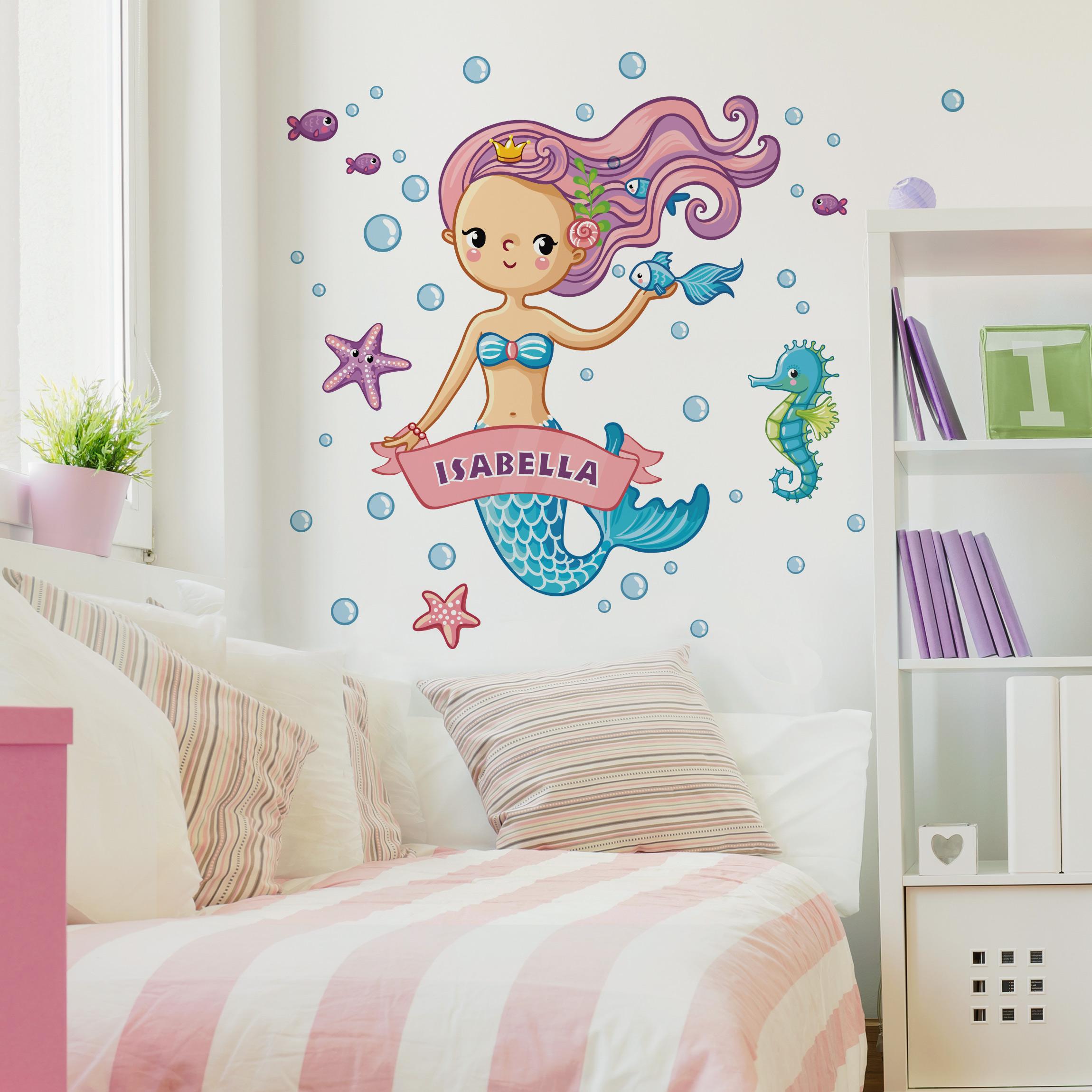 Kinderzimmer wandtattoo meerjungfrau mit wunschname - Kinderzimmer wandtattoo junge ...