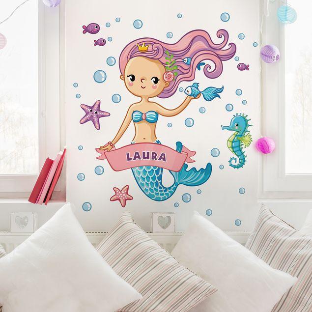 Produktfoto Kinderzimmer Wandtattoo Meerjungfrau mit Wunschname