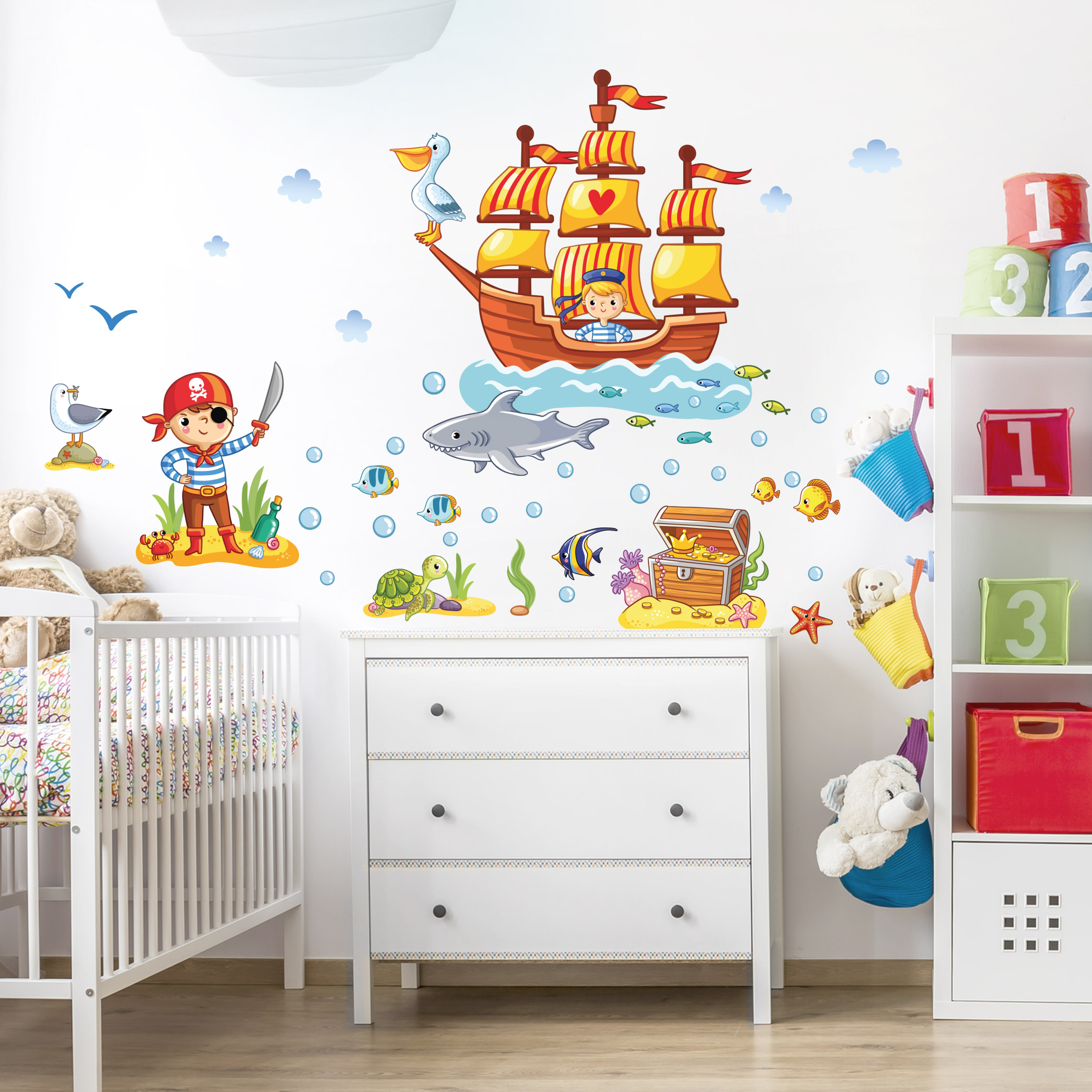 Wandtattoo Kinderzimmer Piraten Set