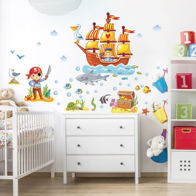 Produktfoto Wandtattoo Kinderzimmer Piraten Set