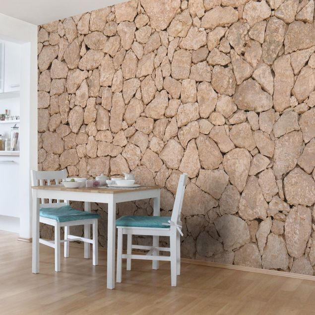 steintapete selbstklebend apulia stone wall alte steinmauer aus gro en steinen fototapete. Black Bedroom Furniture Sets. Home Design Ideas