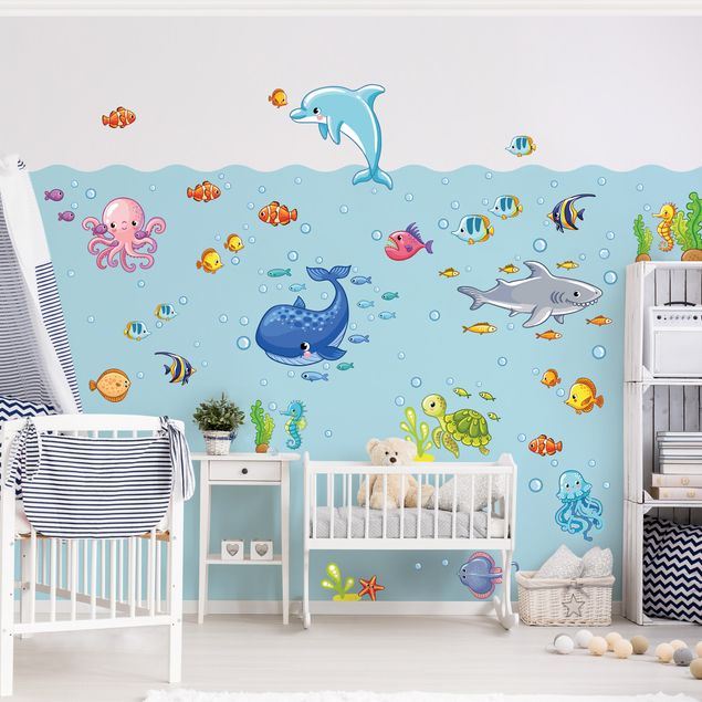 wandtattoo kinderzimmer unterwasserwelt fisch set. Black Bedroom Furniture Sets. Home Design Ideas