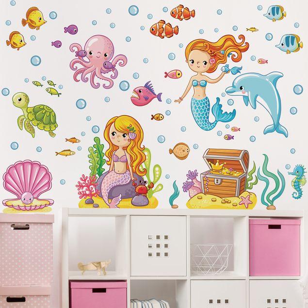 Produktfoto Wandtattoo Kinderzimmer Meerjungfrau -...