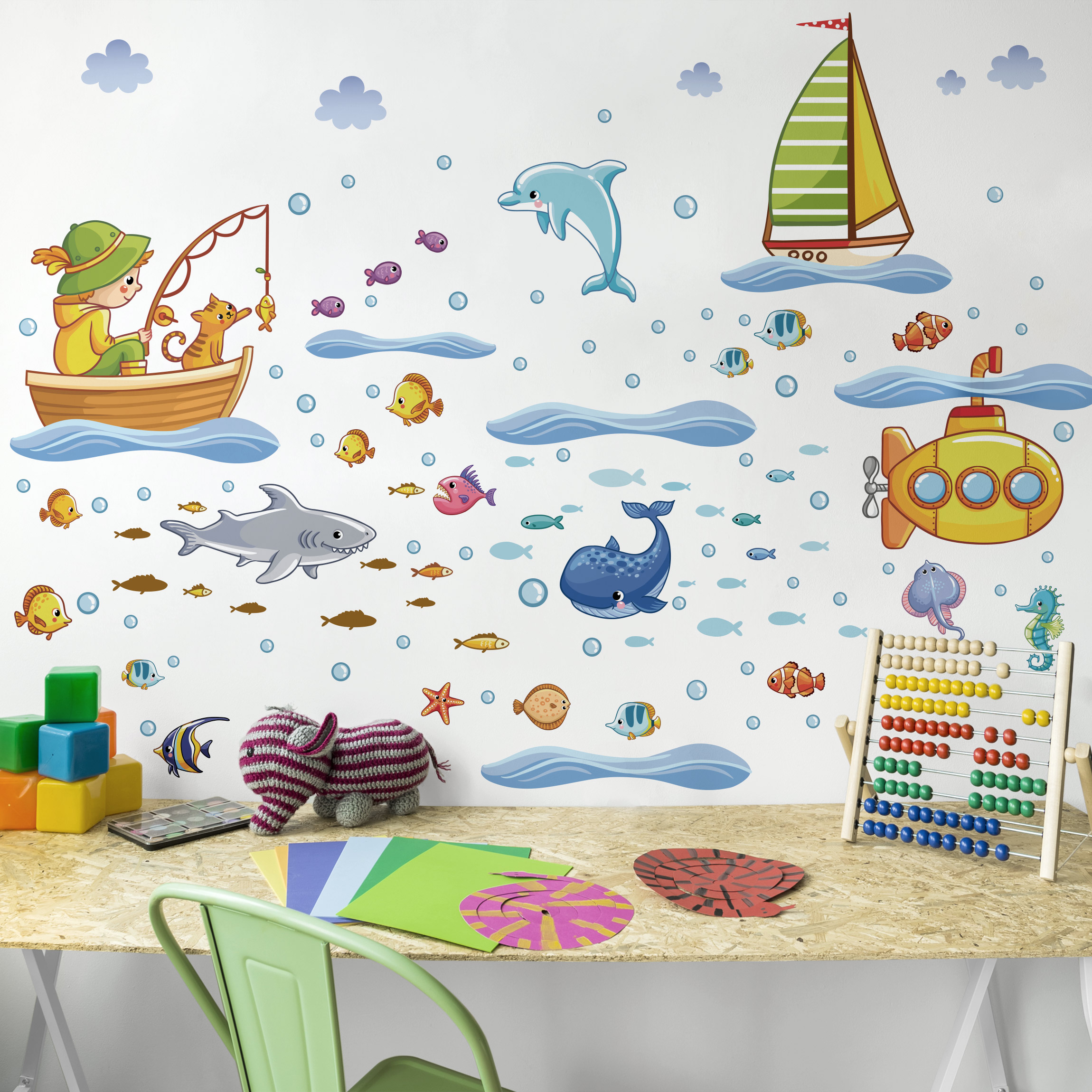 wandtattoo kinderzimmer unterwasserwelt u boot set. Black Bedroom Furniture Sets. Home Design Ideas