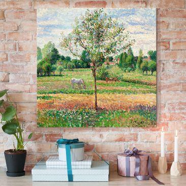 Produktfoto Glasbild - Kunstdruck Camille Pissarro - Wiese mit Schimmel, Eragny - Impressionismus Quadrat 1:1
