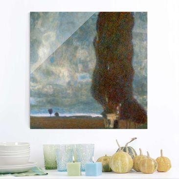 Produktfoto Glasbild - Kunstdruck Gustav Klimt - Die große Pappel II (Aufsteigendes Gewitter) - Jugendstil Quadrat 1:1