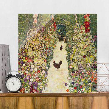 Produktfoto Glasbild - Kunstdruck Gustav Klimt - Gartenweg mit Hühnern - Jugendstil Quadrat 1:1