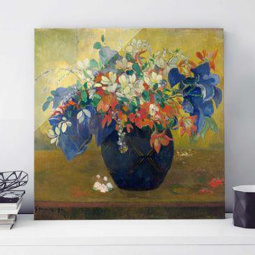 Produktfoto Glasbild - Kunstdruck Paul Gauguin - Blumen in einer Vase - Post-Impressionismus Quadrat 1:1