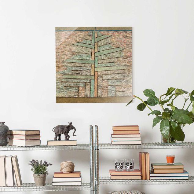 Produktfoto Glasbild - Kunstdruck Paul Klee - Kiefer - Expressionismus Quadrat 1:1