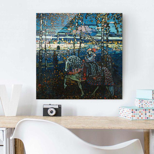 Produktfoto Glasbild - Kunstdruck Wassily Kandinsky - Reitendes Paar - Expressionismus Quadrat 1:1