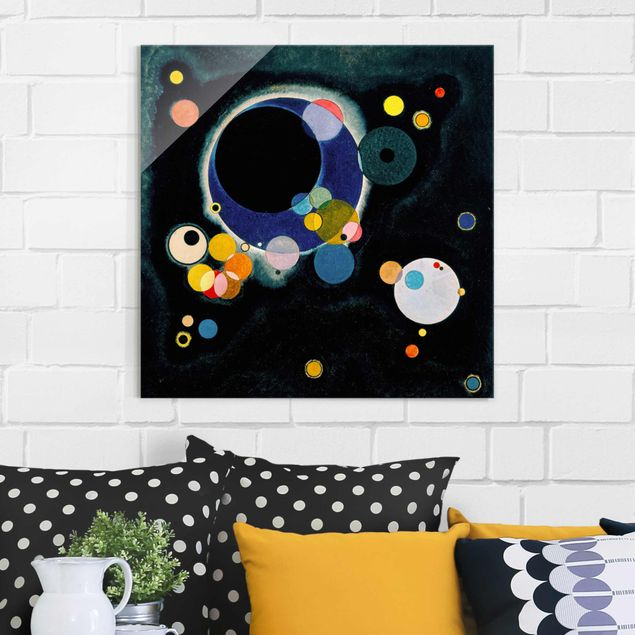 Produktfoto Glasbild - Kunstdruck Wassily Kandinsky - Skizze für 'Einige Kreise' - Expressionismus Quadrat 1:1