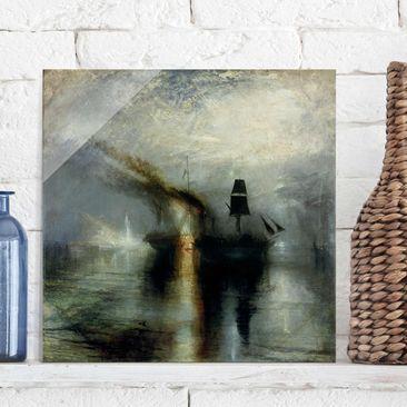 Produktfoto Glasbild - Kunstdruck William Turner - Frieden. Beisetzung auf See - Romantik Quadrat 1:1