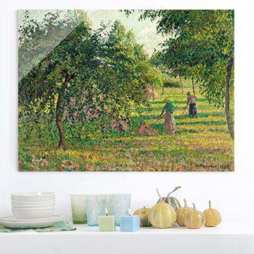 Produktfoto Glasbild - Kunstdruck Camille Pissarro - Apfelbäume und Heuwender in Eragny - Impressionismus Quer 3:4