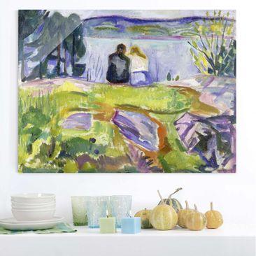 Produktfoto Glasbild - Kunstdruck Edvard Munch - Frühling (Liebespaar am Ufer) - Expressionismus Quer 3:4