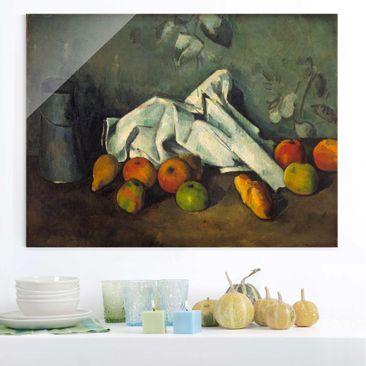 Produktfoto Glasbild - Kunstdruck Paul Cézanne - Milchkanne und Äpfel - Impressionismus Quer 3:4