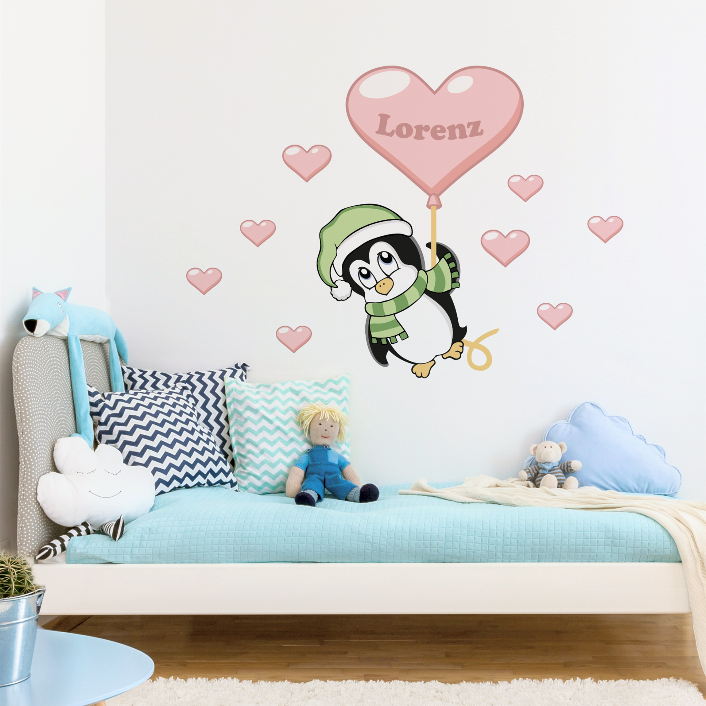 Kinderzimmer wandtattoo mit wunschtext pinguin junge mit - Kinderzimmer wandtattoo junge ...