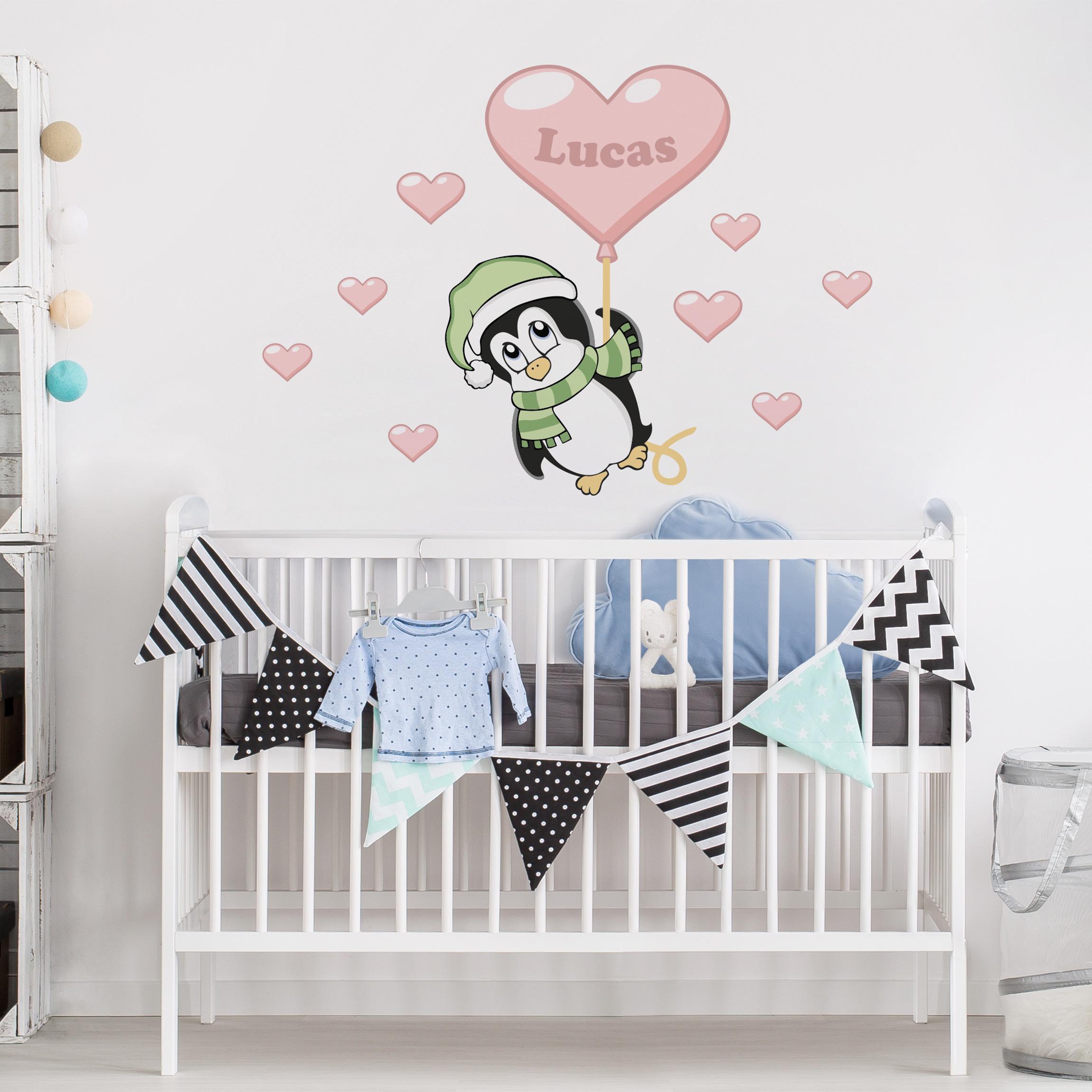 Kinderzimmer Wandtattoo Mit Wunschtext Pinguin Junge Mit Wunschname