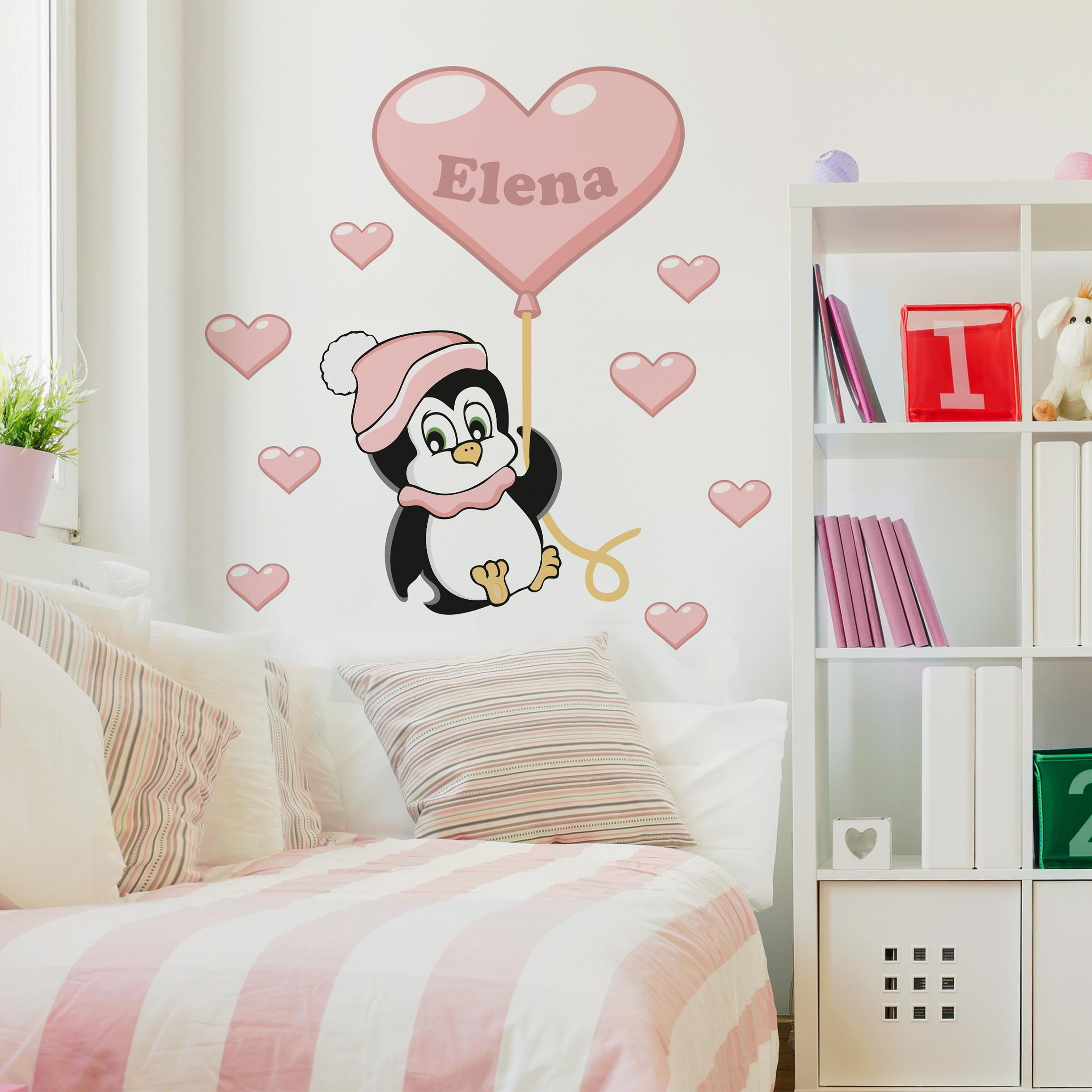 Kinderzimmer Wandtattoo | Kinderzimmer Wandtattoo Mit Wunschtext Pinguin Madchen Mit Wunschname