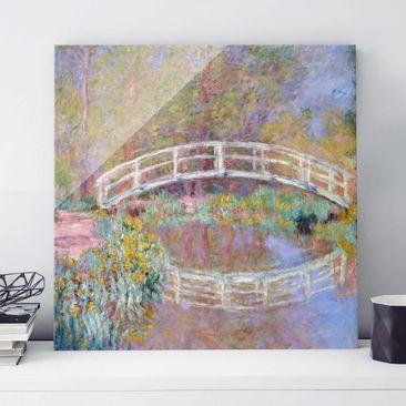 Produktfoto Glasbild - Kunstdruck Claude Monet - Brücke in Monets Garten - Impressionismus Quadrat 1:1