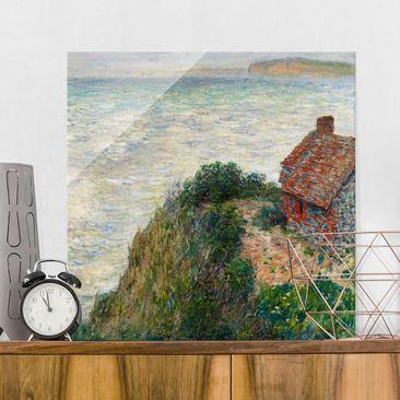 Produktfoto Glasbild - Kunstdruck Claude Monet - Fischerhaus in Petit Ailly - Impressionismus Quadrat 1:1