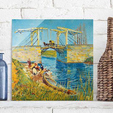 Immagine del prodotto Quadro su vetro - Vincent van Gogh - Il Ponte di Langlois ad Arles con Lavandaie - Post-Impressionismo quadrato 1:1