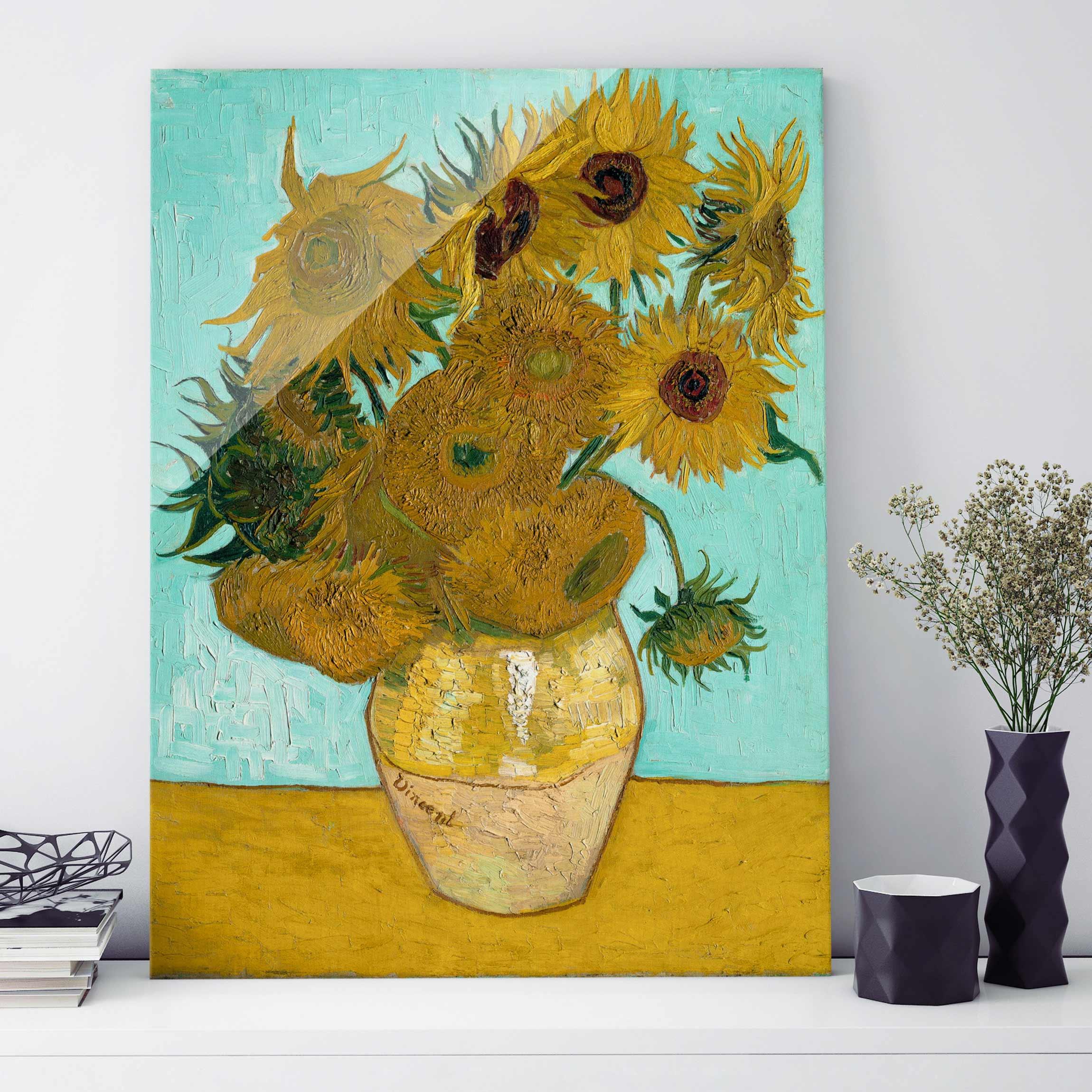 Glasbild Kunstdruck Vincent Van Gogh Vase Mit Sonnenblumen