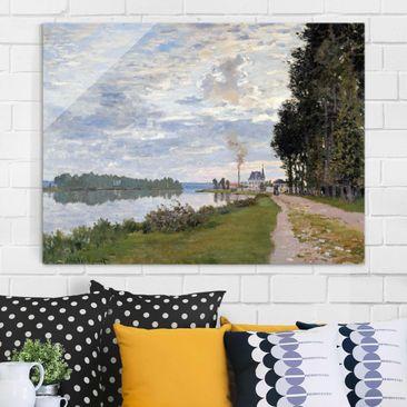 Produktfoto Glasbild - Kunstdruck Claude Monet - Die Uferpromenade bei Argenteuil - Impressionismus Quer 3:4