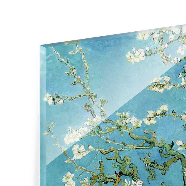 glasbild kunstdruck vincent van gogh mandelbl te post impressionismus quer 3 4. Black Bedroom Furniture Sets. Home Design Ideas