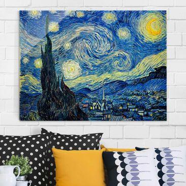 Produktfoto Glasbild - Kunstdruck Vincent van Gogh - Sternennacht - Post-Impressionismus Quer 3:4
