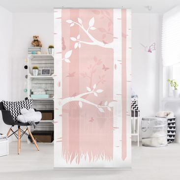 Immagine del prodotto Tenda a pannello pink birches with butterflies and birds 250x120cm