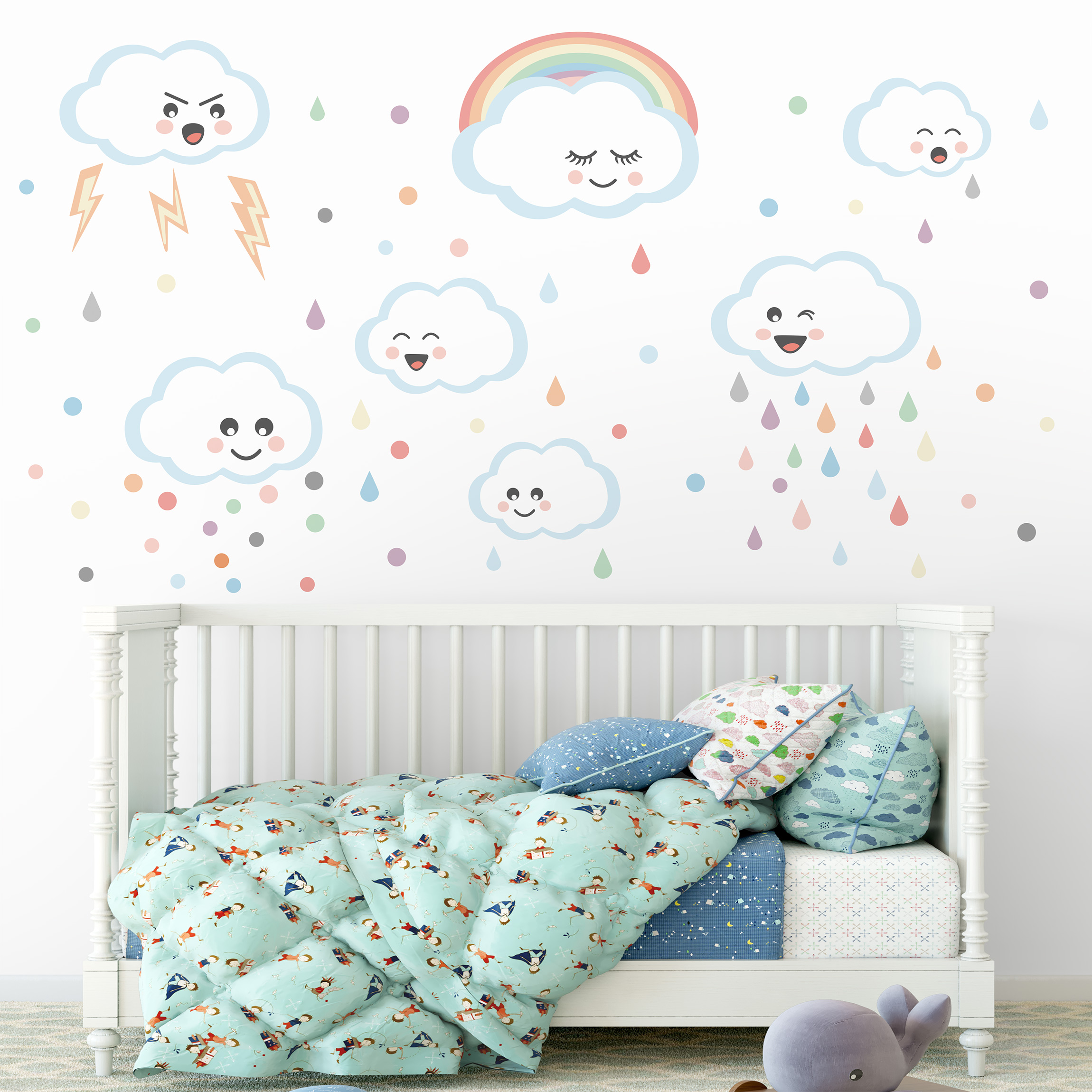 Wandtattoo Wolken mit Gesicht Kinderzimmer Set
