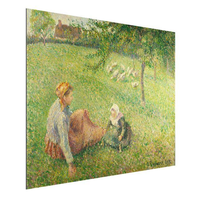 Produktfoto Alu-Dibond - Kunstdruck Camille Pissarro - Die Gänsehirtin - Impressionismus Quer 3:4