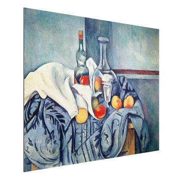 Produktfoto Alu-Dibond - Kunstdruck Paul Cézanne - Stillleben mit Pfirsichen und Flaschen - Impressionismus Quer 3:4