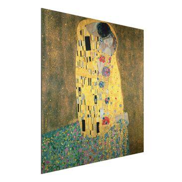 Produktfoto Alu-Dibond - Kunstdruck Gustav Klimt - Der Kuß - Jugendstil Quadrat 1:1