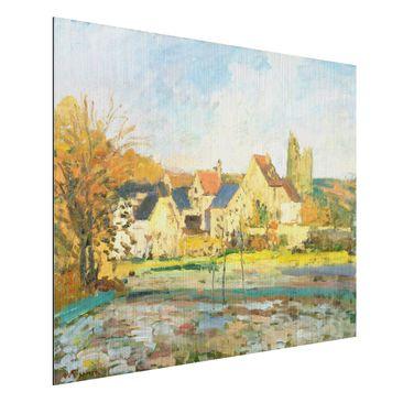 Produktfoto Alu-Dibond gebürstet - Kunstdruck Camille Pissarro - Landschaft bei Pontoise - Impressionismus Quer 3:4