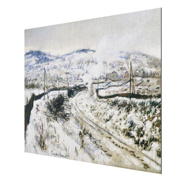 alu dibond geb rstet kunstdruck claude monet zug im schnee bei argenteuil impressionismus. Black Bedroom Furniture Sets. Home Design Ideas