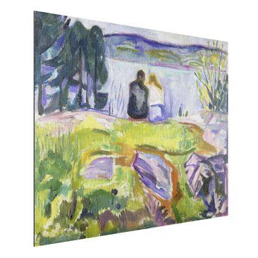 Produktfoto Alu-Dibond gebürstet - Kunstdruck Edvard Munch - Frühling (Liebespaar am Ufer) - Expressionismus Quer 3:4