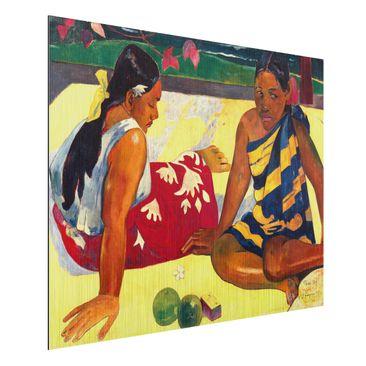 Produktfoto Alu-Dibond gebürstet - Kunstdruck Paul Gauguin - Zwei Frauen von Tahiti. Parau Api (Gibt's was Neues?) - Post-Impressionismus Quer 3:4