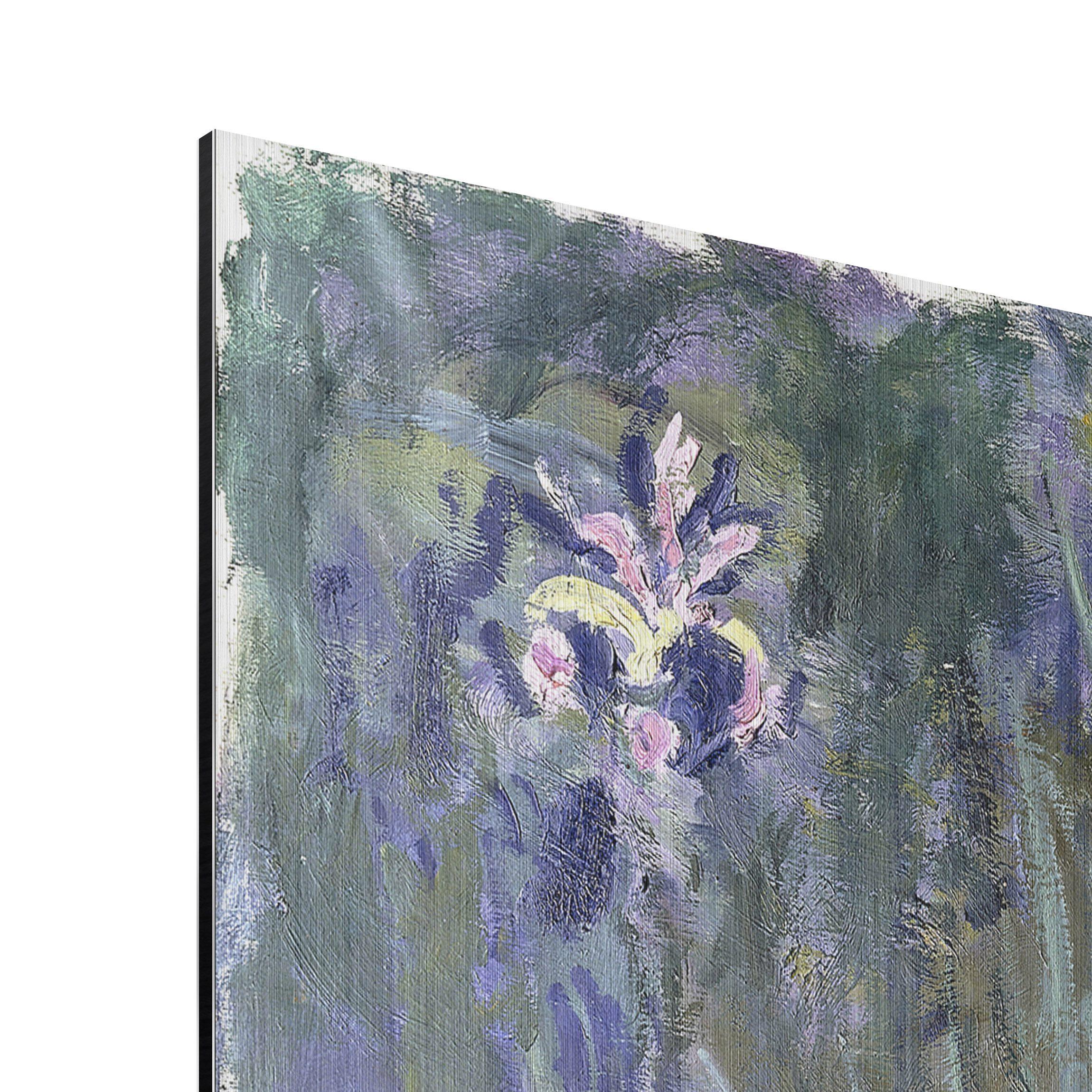 alu dibond geb rstet kunstdruck claude monet schwertlilien impressionismus hoch 4 3. Black Bedroom Furniture Sets. Home Design Ideas