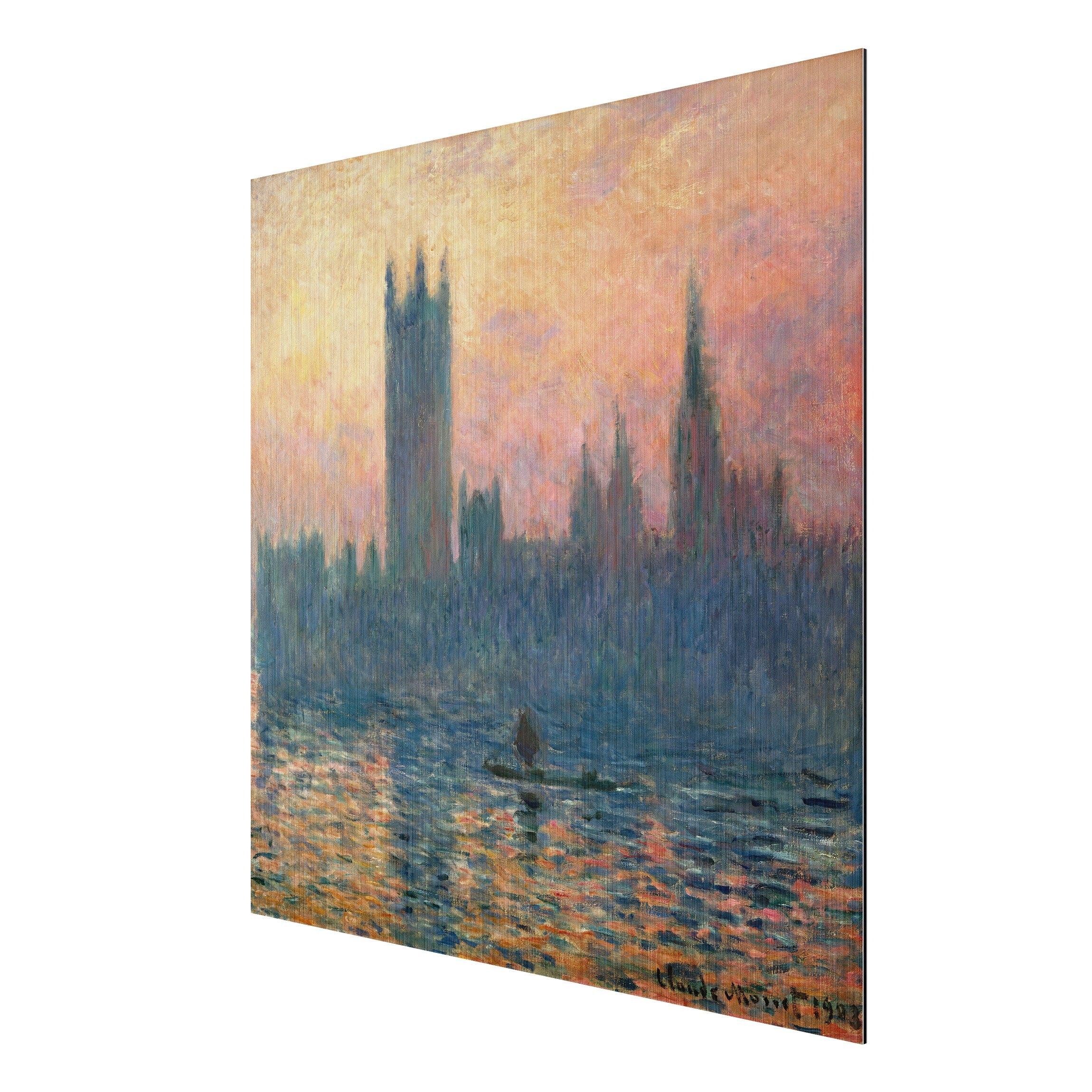 alu dibond geb rstet kunstdruck claude monet das parlament in london bei sonnenuntergang. Black Bedroom Furniture Sets. Home Design Ideas