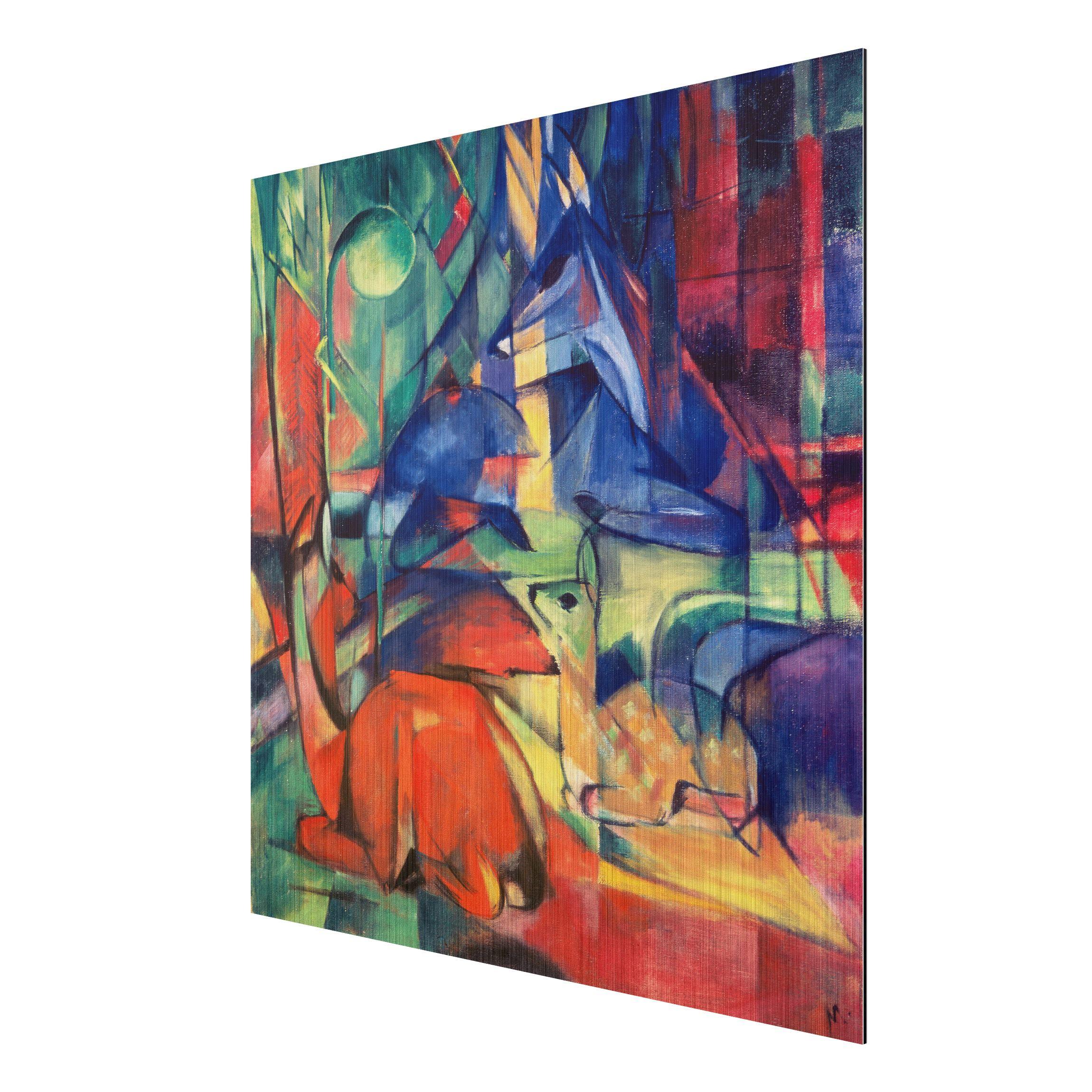 alu dibond geb rstet kunstdruck franz marc rehe im walde ii expressionismus quadrat 1 1. Black Bedroom Furniture Sets. Home Design Ideas