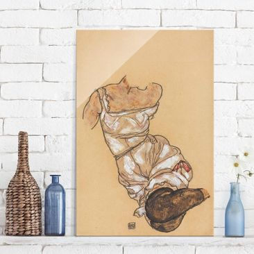 Immagine del prodotto Stampa su vetro - Egon Schiele - Female torso in underwear and black stockings - Verticale 3:2